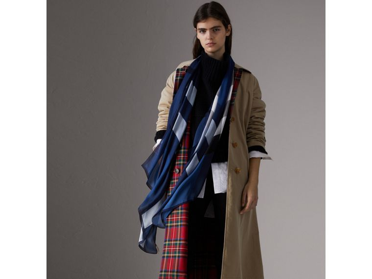 Lightweight Check Silk Scarf in Cadet Blue - Women | Burberry Australia - cell image 2