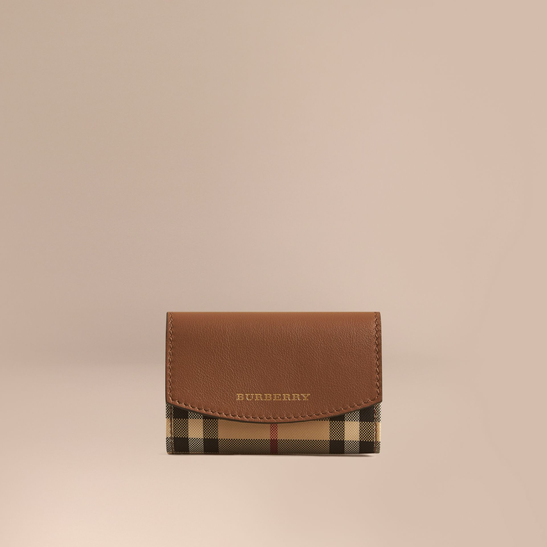 Tan Horseferry Check and Leather Card Case Tan - gallery image 1
