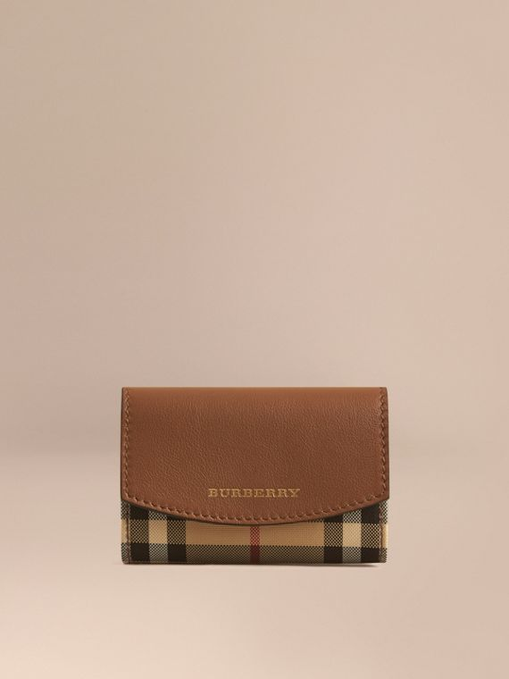Horseferry Check and Leather Card Case Tan