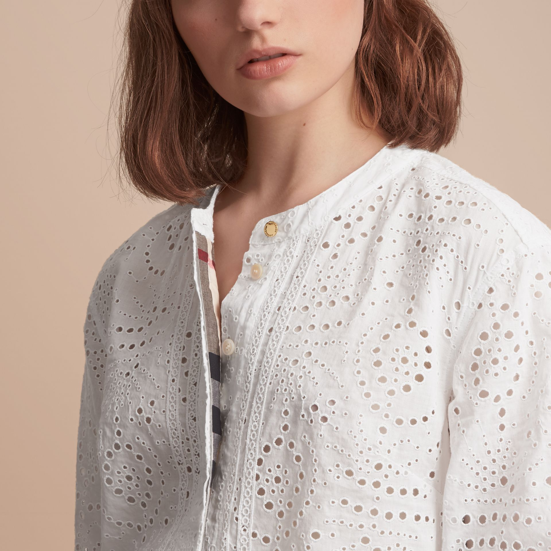 Collarless Broderie Anglaise Shirt Dress - gallery image 5