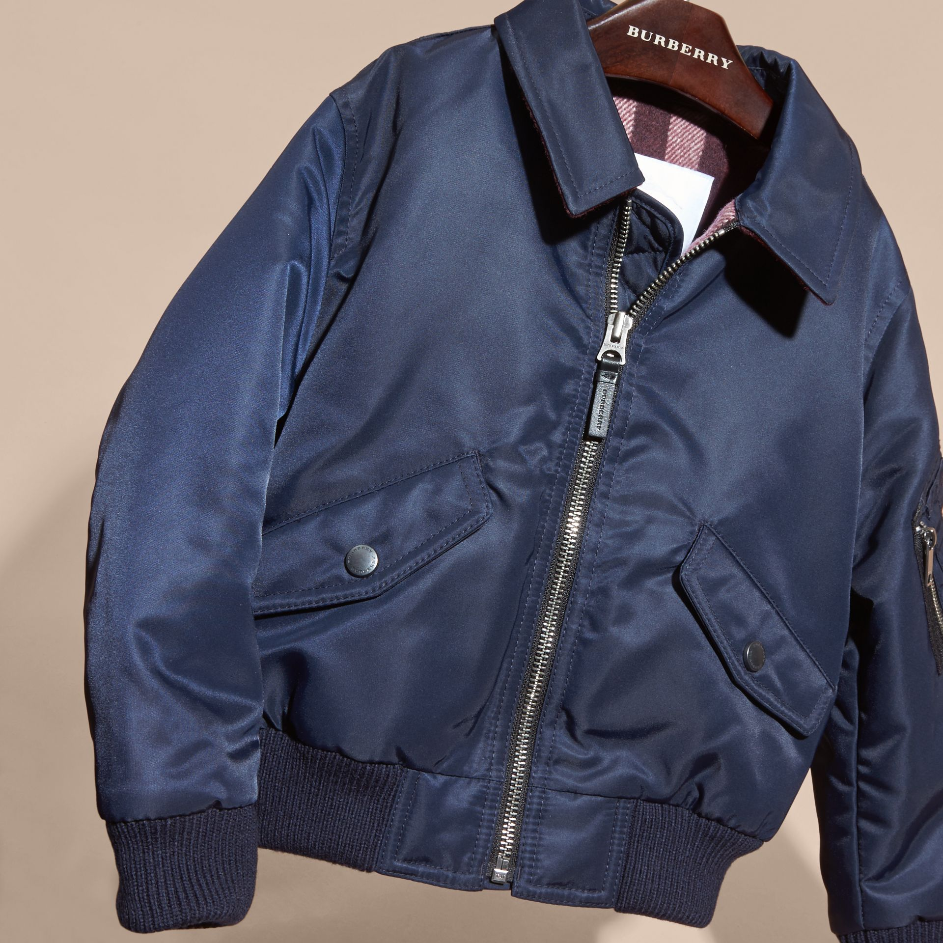 Navy Nylon and Check Wool Cashmere Bomber Jacket - gallery image 3