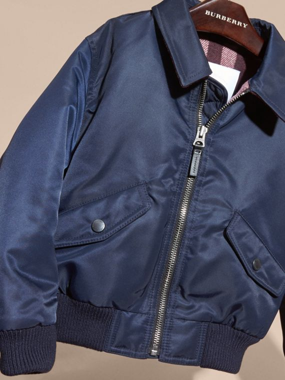 Navy Nylon and Check Wool Cashmere Bomber Jacket - cell image 2