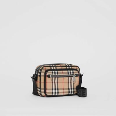 Sac à bandoulière en cuir et Vintage check (Beige D'archive) Homme | Burberry