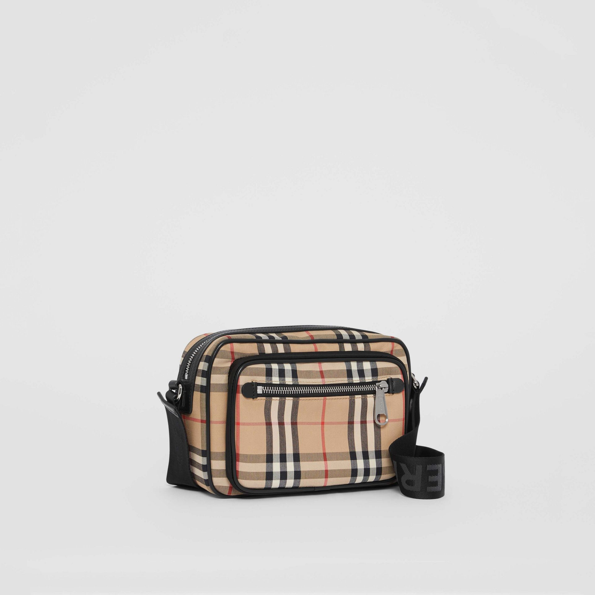 Vintage Check and Leather Crossbody Bag in Archive Beige - Men | Burberry Australia - gallery image 6