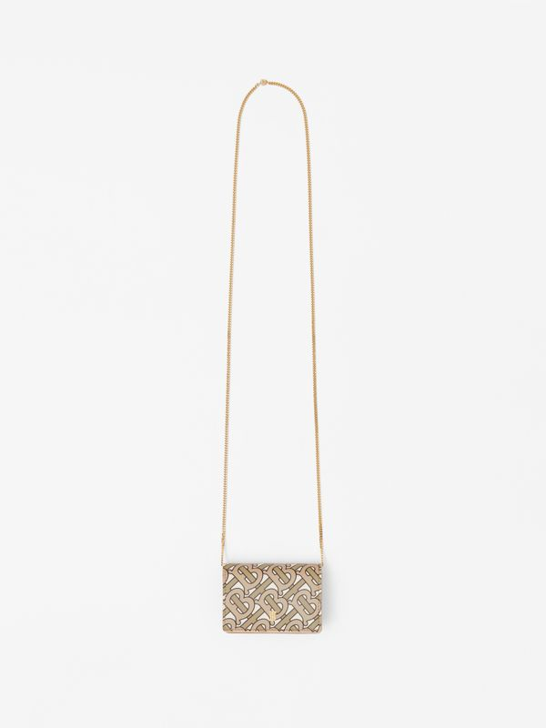 Monogram Print Card Case with Detachable Strap in Beige - Women | Burberry - cell image 3