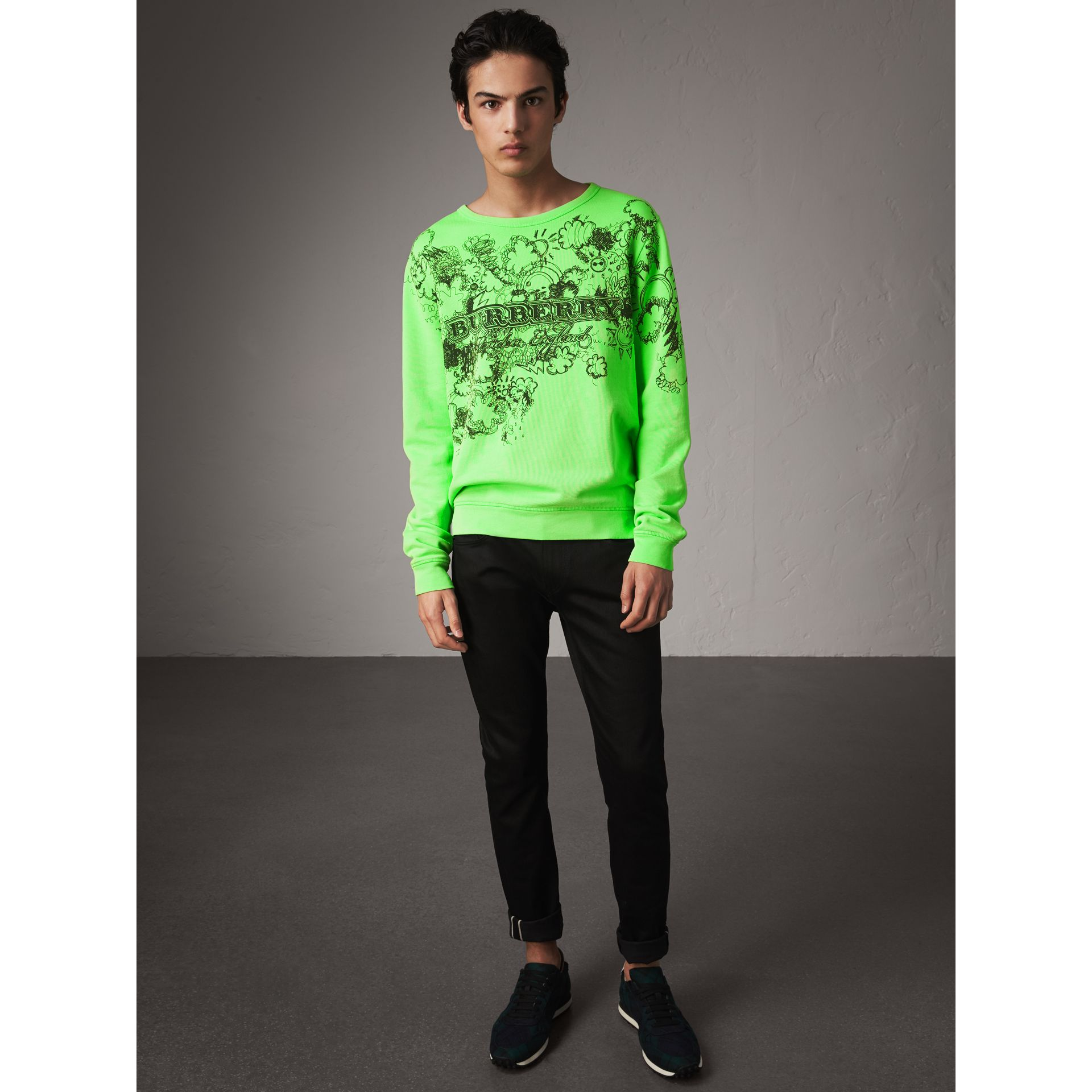 Doodle Print Cotton Sweatshirt in Bright Apple Green - Men | Burberry - gallery image 4