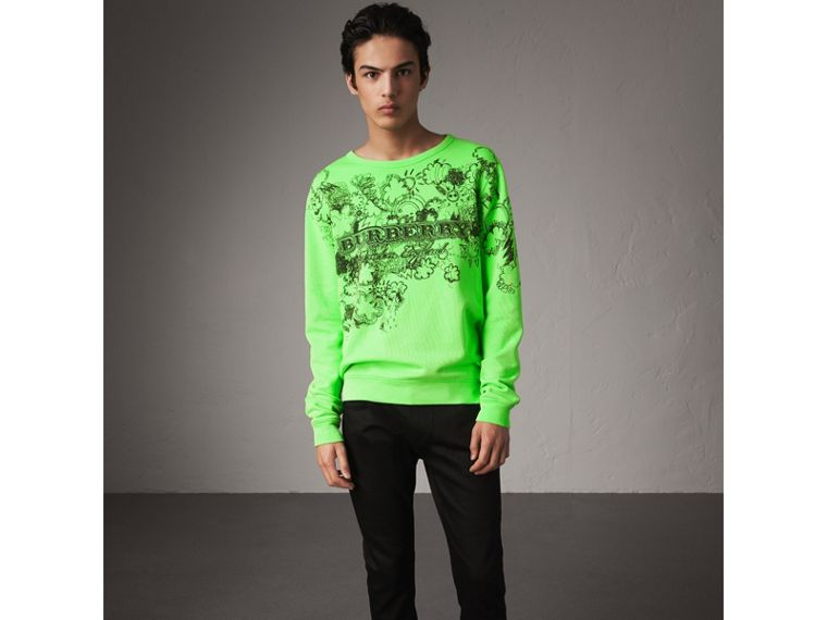Doodle Print Cotton Sweatshirt in Bright Apple Green - Men | Burberry Australia - cell image 4