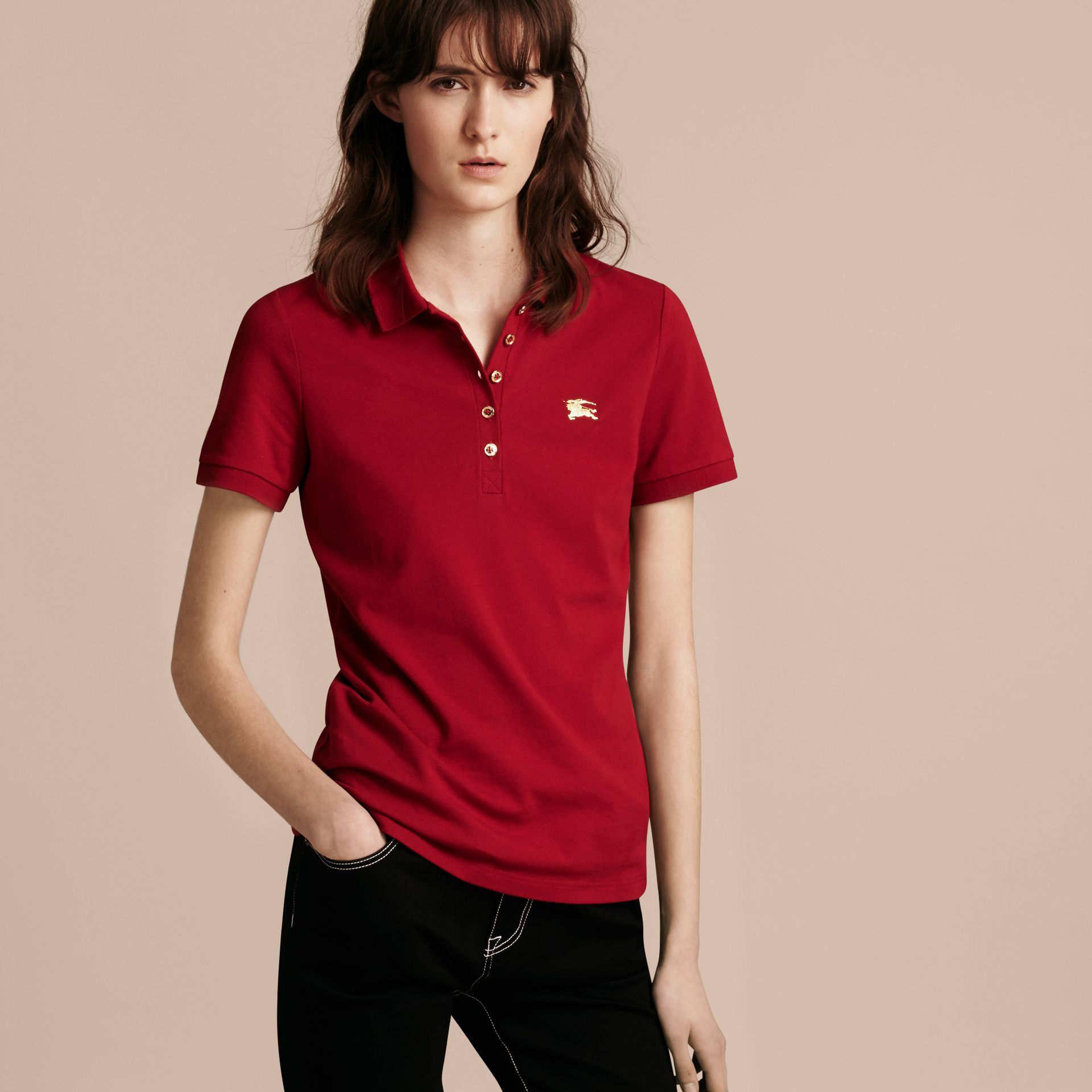 Military red Stretch Cotton Piqué Polo Shirt Military Red - gallery image 6