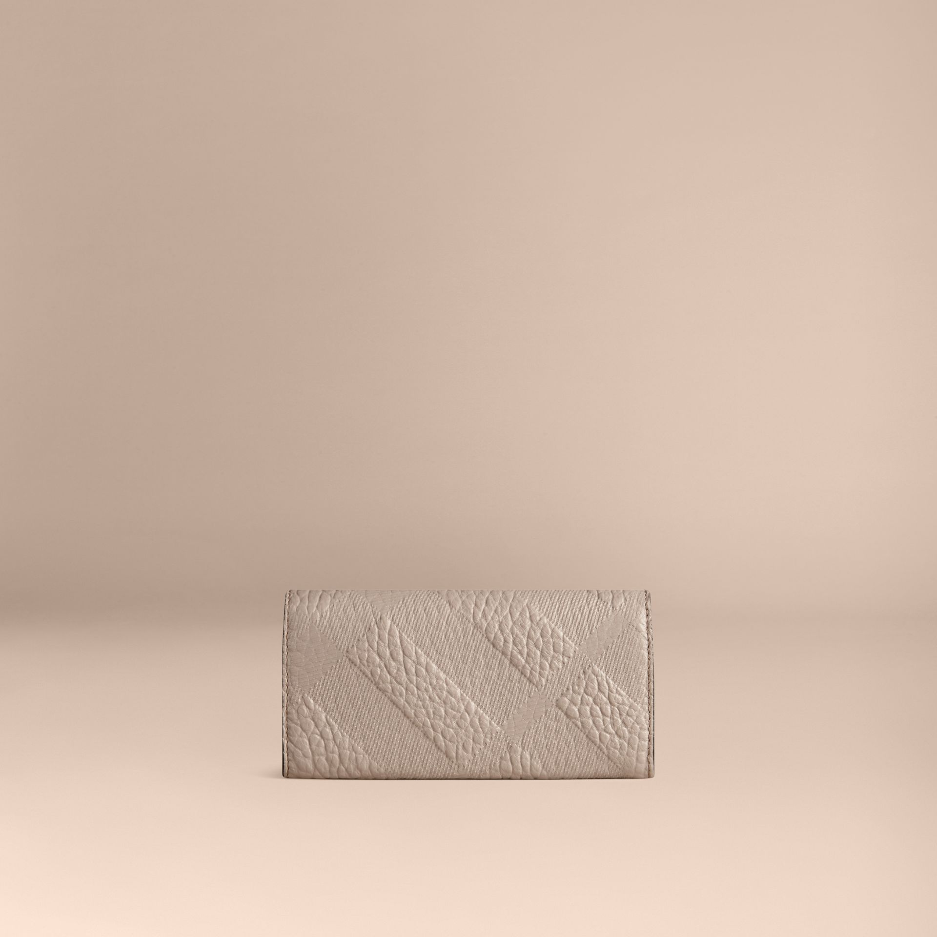 Pale grey Embossed Check Leather Continental Wallet Pale Grey - gallery image 3