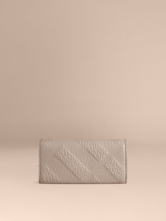 Pale grey Embossed Check Leather Continental Wallet Pale Grey - cell image 2