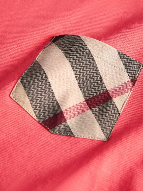 Check Pocket Cotton T-shirt in Bright Coral Pink - Children | Burberry - cell image 1