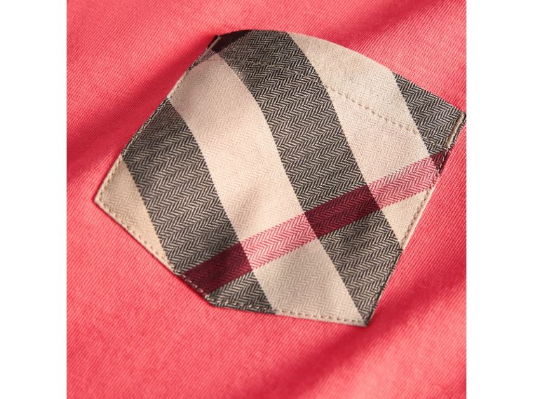 Check Pocket Cotton T-shirt in Bright Coral Pink - Boy | Burberry - cell image 1