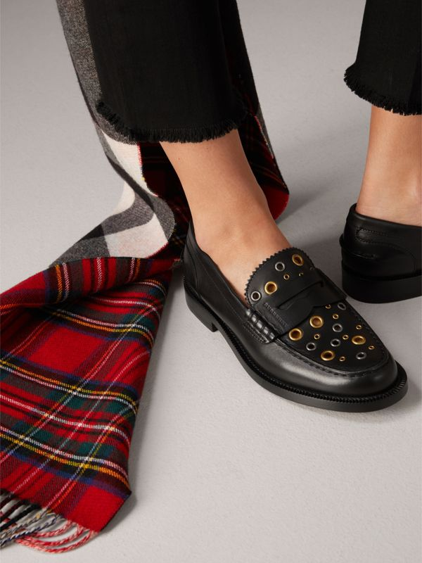 Eyelet Detail Leather Penny Loafers in Black - Women | Burberry United Kingdom - cell image 2