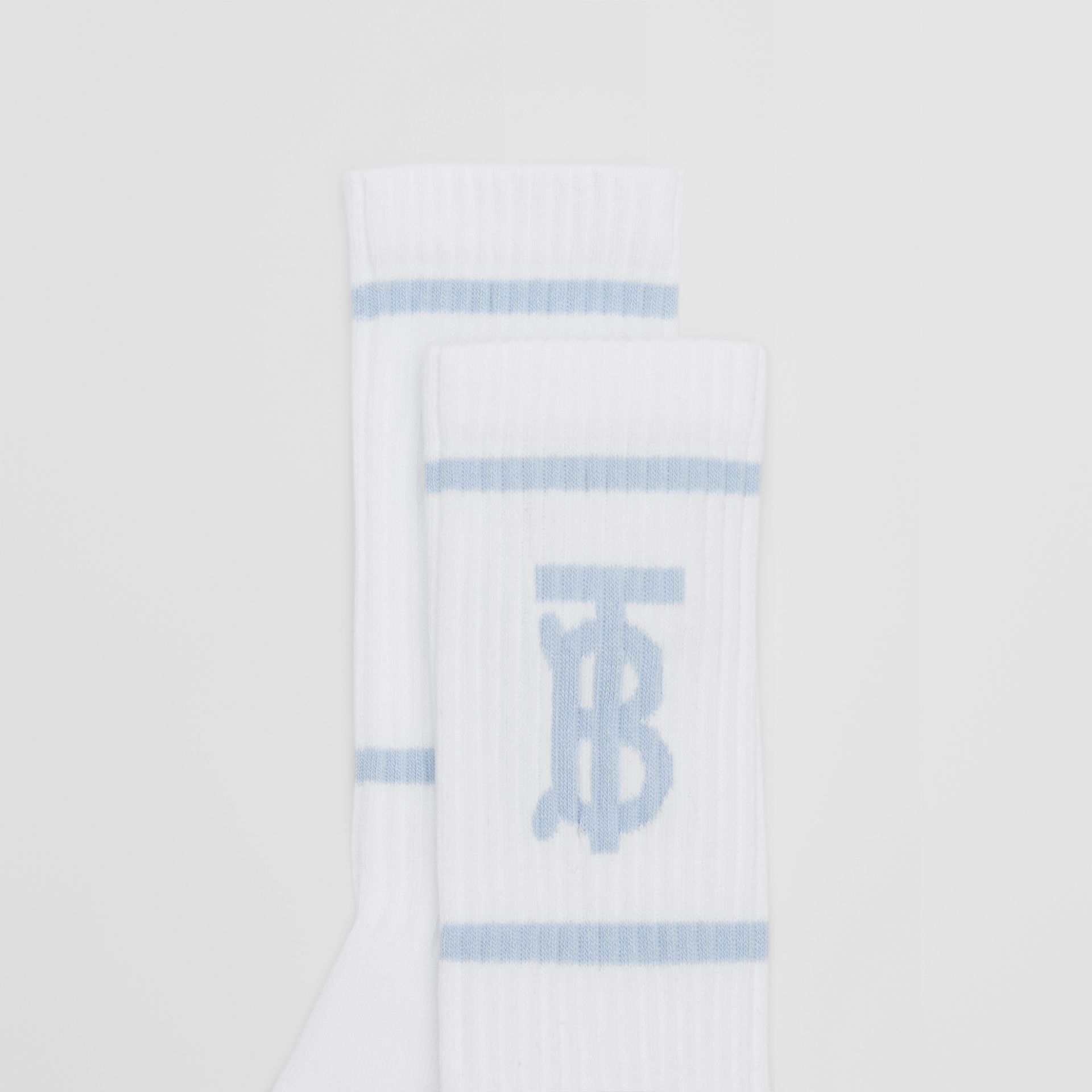Monogram Motif Intarsia Socks in White/pale Blue | Burberry United Kingdom - gallery image 1