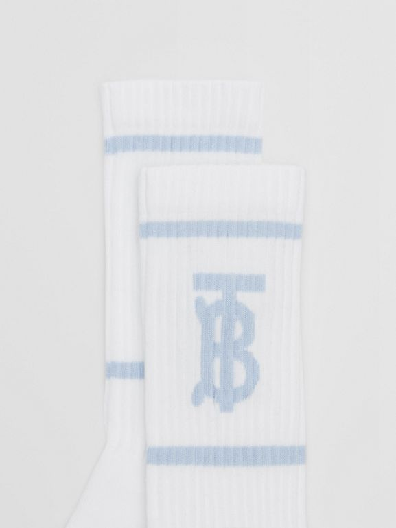 Monogram Motif Intarsia Socks in White/pale Blue | Burberry United Kingdom - cell image 1