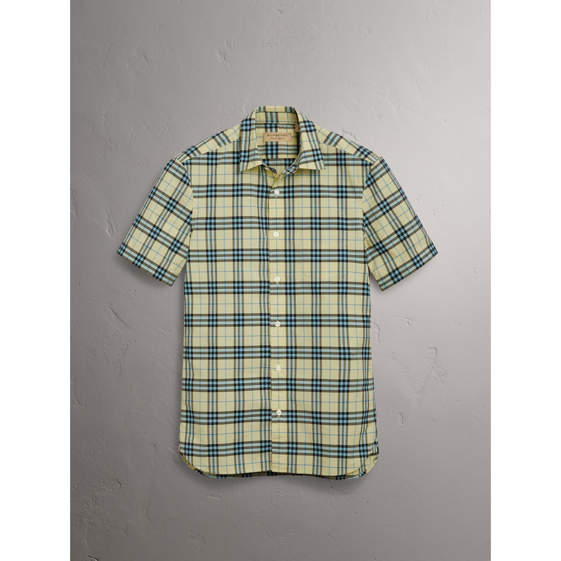 Short-sleeve Check Cotton Shirt in Chalk Yellow - Men | Burberry - gallery image 3