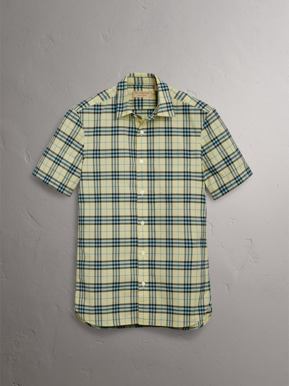 Short-sleeve Check Cotton Shirt in Chalk Yellow - Men | Burberry United Kingdom - cell image 3