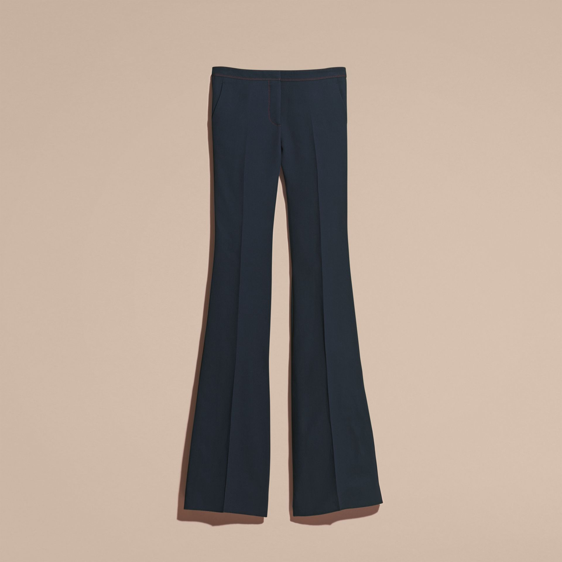 Ink blue Wool Silk Boot-cut Trousers - gallery image 4