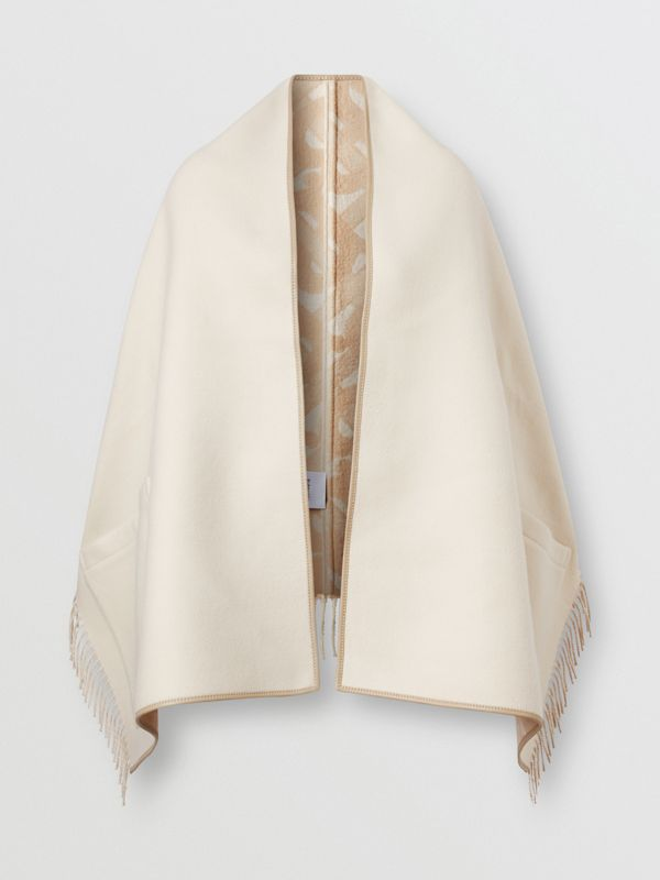 Monogram Merino Wool Cashmere Jacquard Cape in Soft Fawn - Women | Burberry United Kingdom - cell image 3