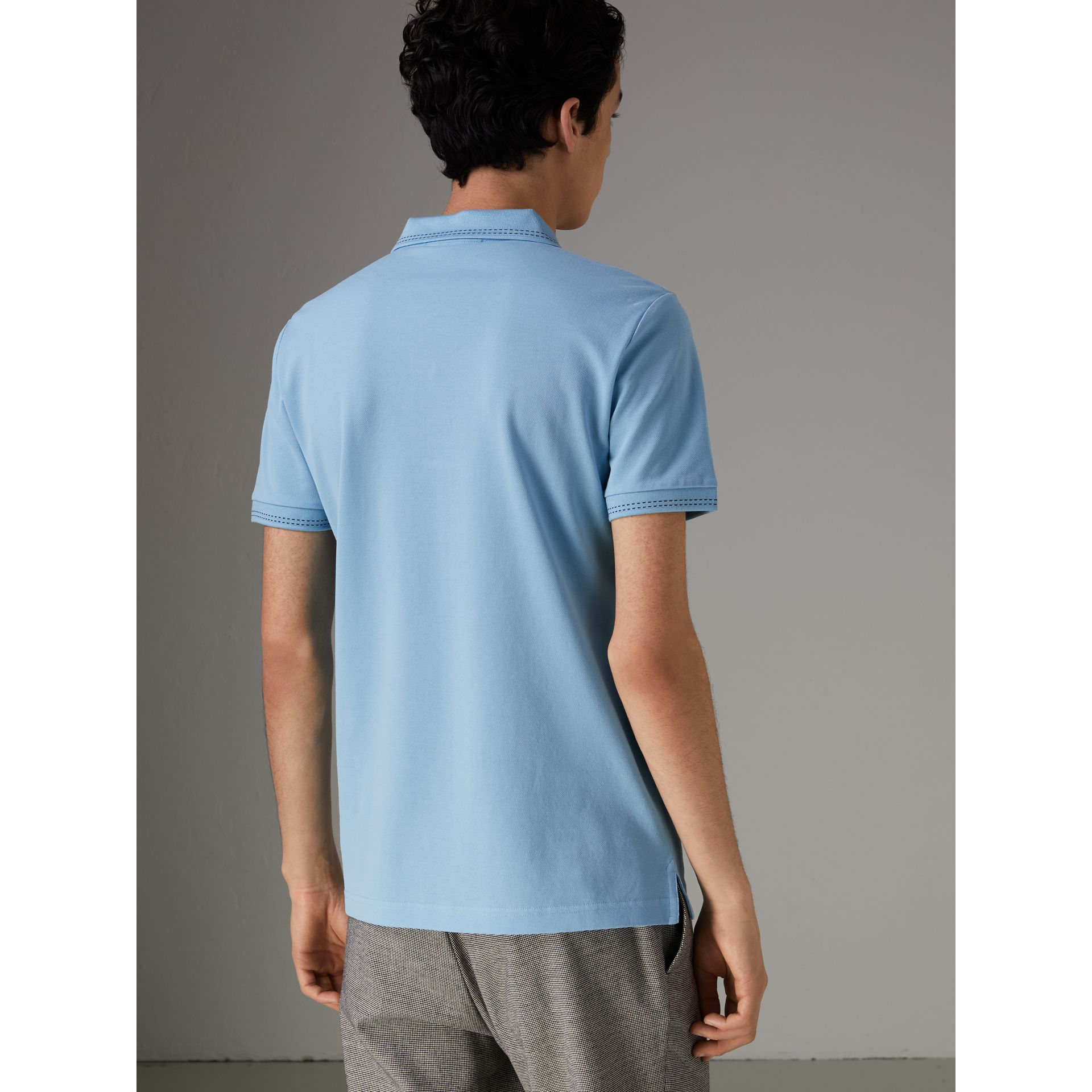 Cotton Piqué Polo Shirt in Pale Turquoise - Men | Burberry - gallery image 2