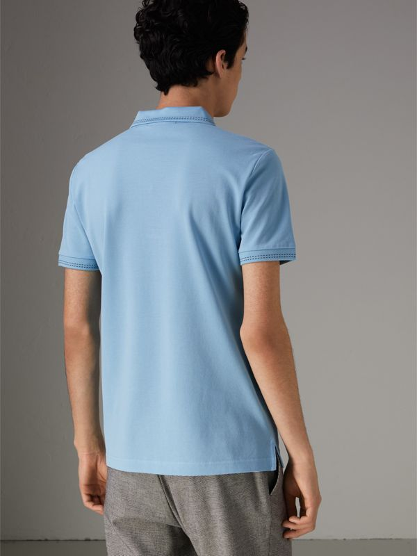Cotton Piqué Polo Shirt in Pale Turquoise - Men | Burberry - cell image 2