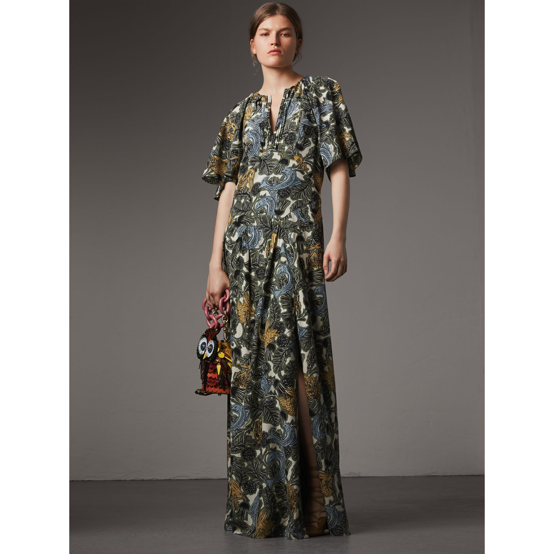 Beasts Print Deep V-neck Silk Longline Dress in Clay Green - Women | Burberry Australia - gallery image 1