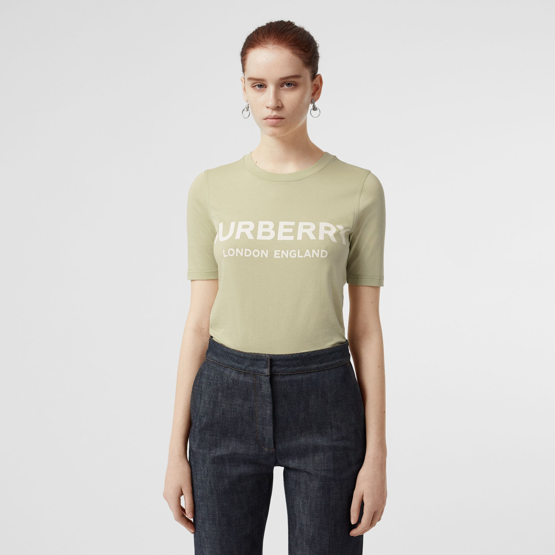 Logo Print Cotton T-shirt in Pale Apple Green - Women | Burberry - gallery image 0