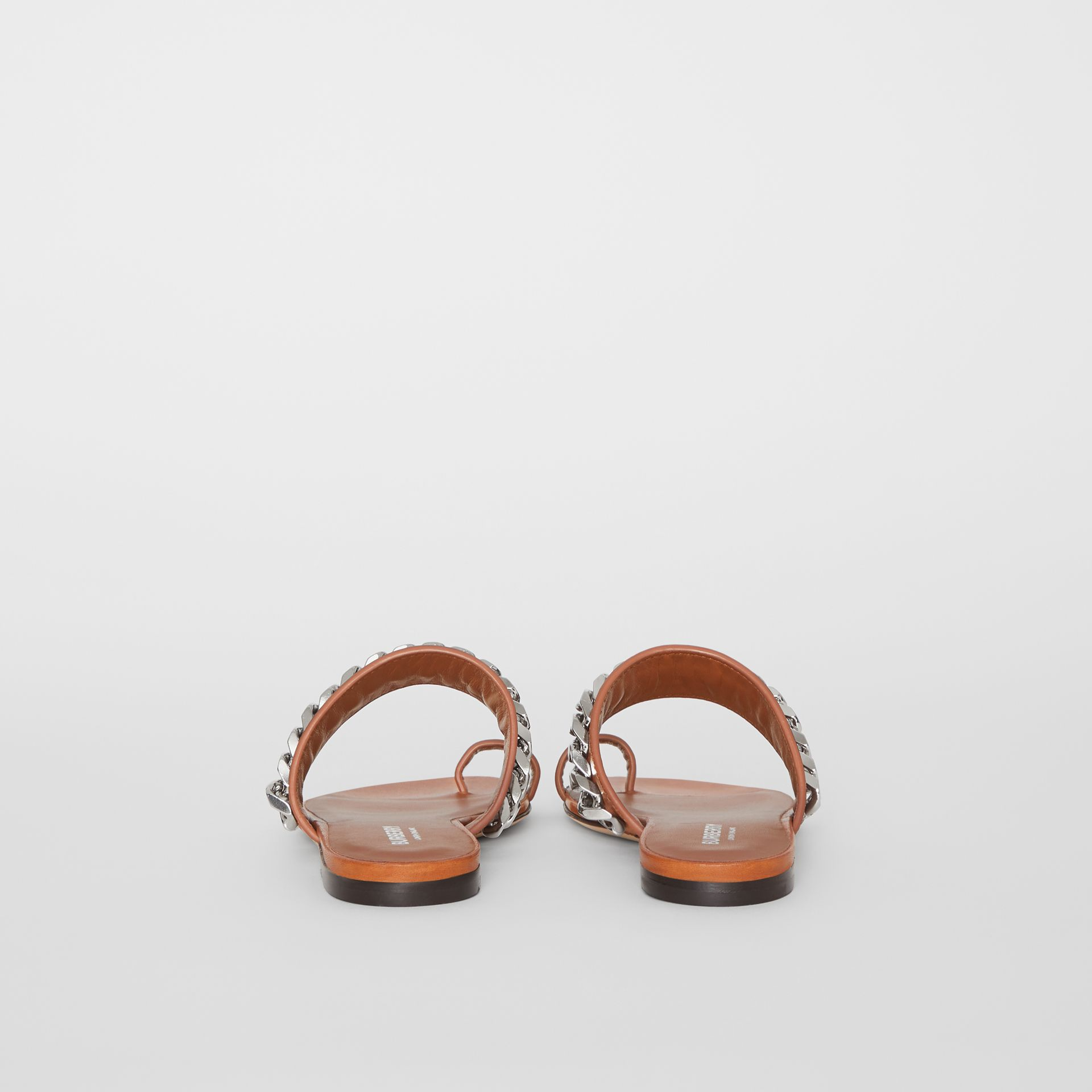 Chain Detail Leather Sandals in Amber - Women | Burberry - gallery image 4