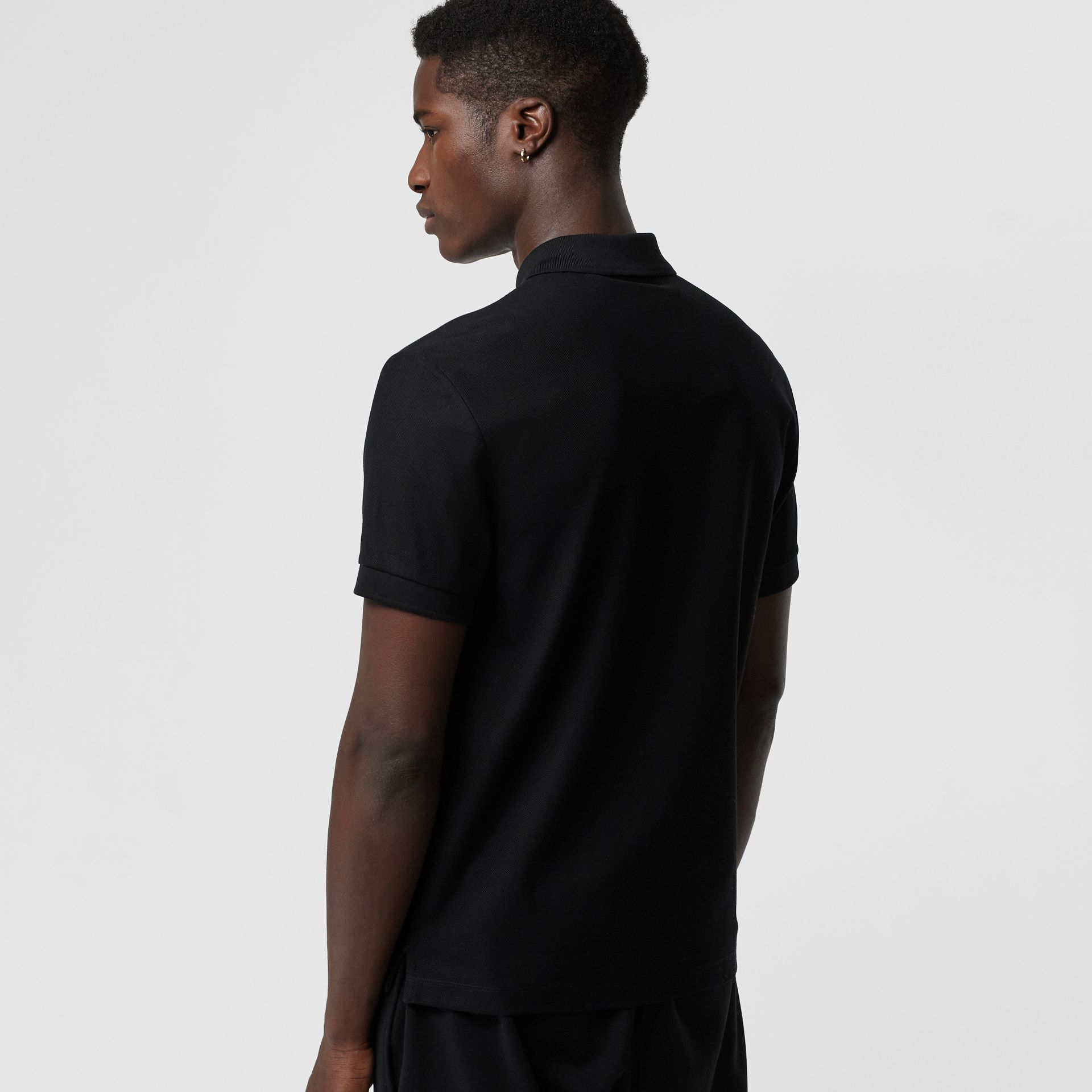 Bullion Floral Cotton Piqué Polo Shirt in Black - Men | Burberry Canada - gallery image 2