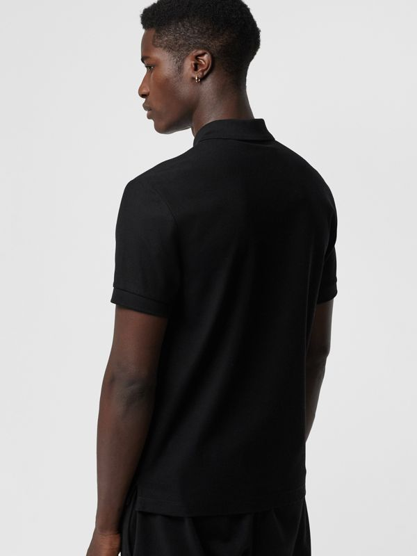 Bullion Floral Cotton Piqué Polo Shirt in Black - Men | Burberry Canada - cell image 2