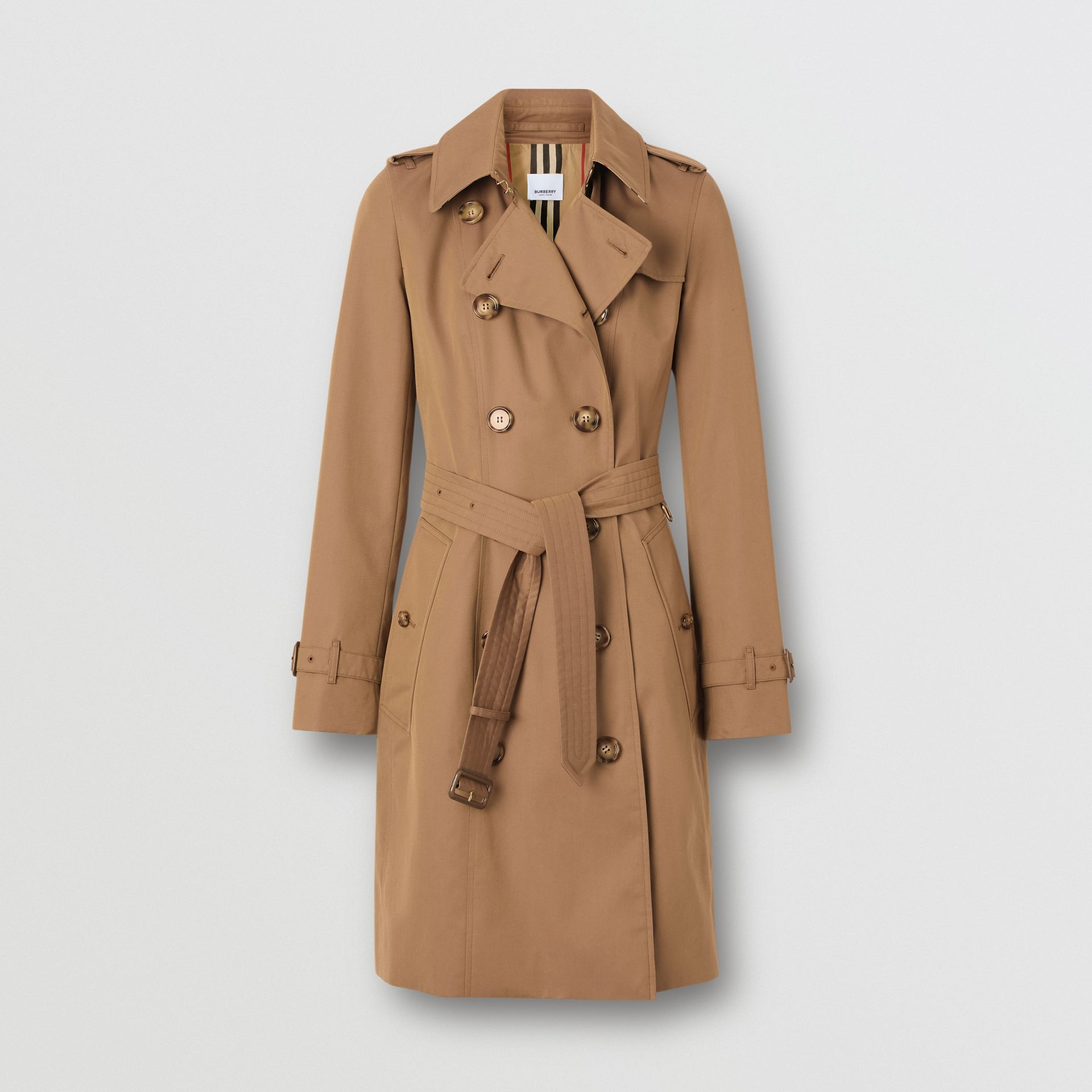 Cotton Gabardine Trench Coat in Warm Taupe - Women | Burberry - gallery image 3