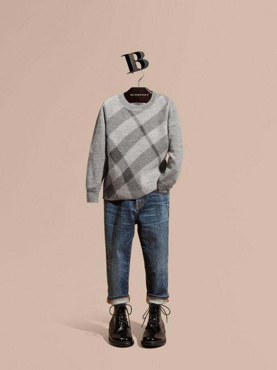 Needle-punch Check Merino Wool Jumper