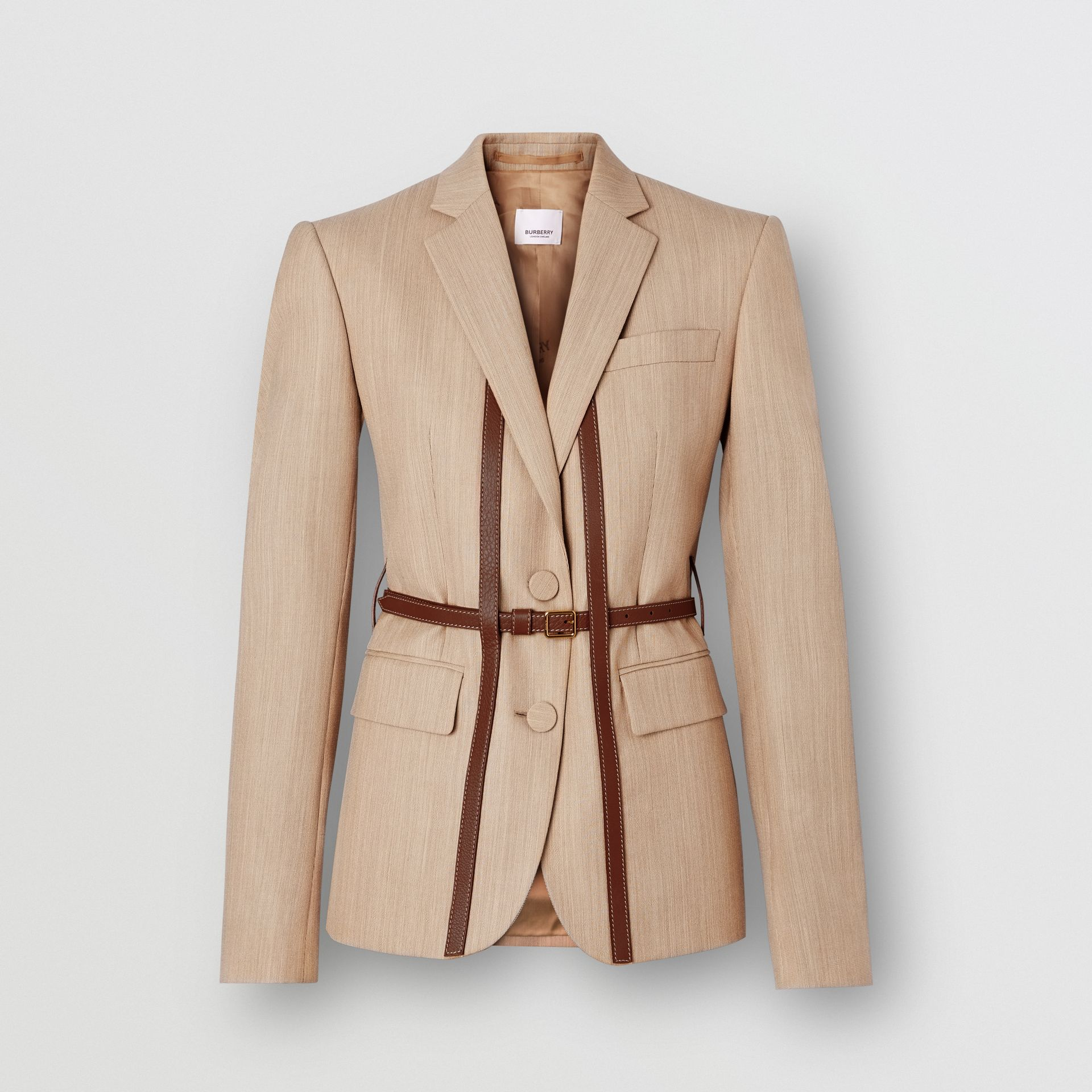 Leather Harness Detail Wool Tailored Jacket in Camel Melange - Women | Burberry - gallery image 3