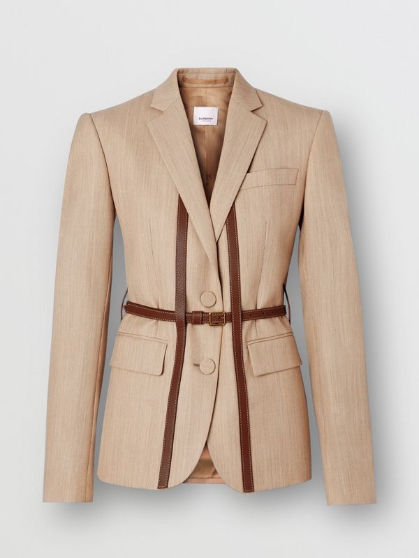 Leather Harness Detail Wool Tailored Jacket in Camel Melange - Women | Burberry - cell image 3
