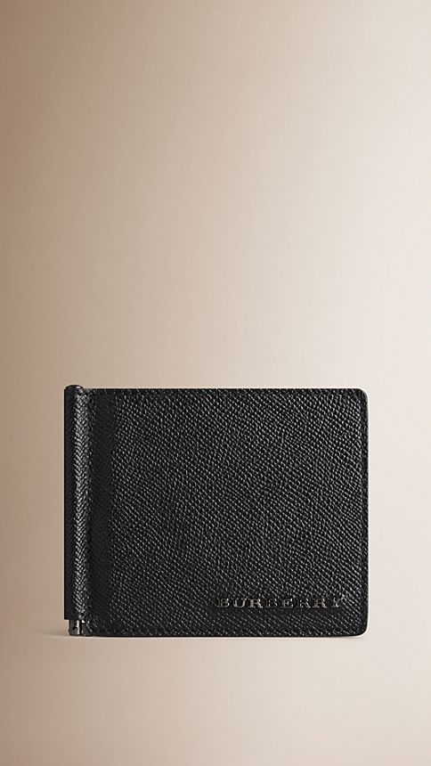 Black London Leather Money Clip Wallet - Image 1