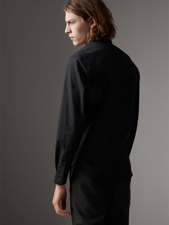 Check Detail Stretch Cotton Poplin Shirt in Black - Men | Burberry United Kingdom - cell image 2