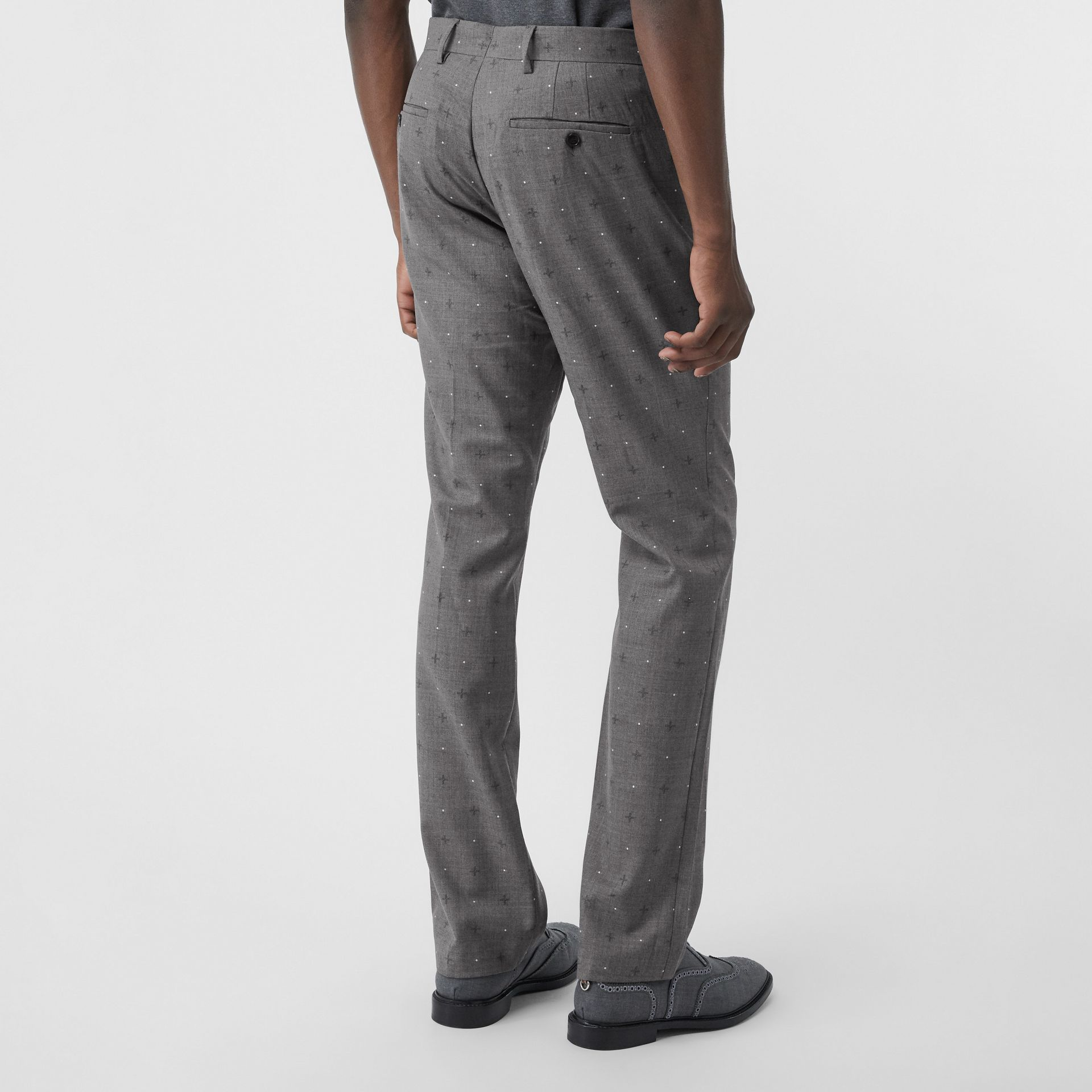 Classic Fit Fil Coupé Wool Cotton Tailored Trousers in Mid Grey Melange - Men | Burberry - gallery image 2