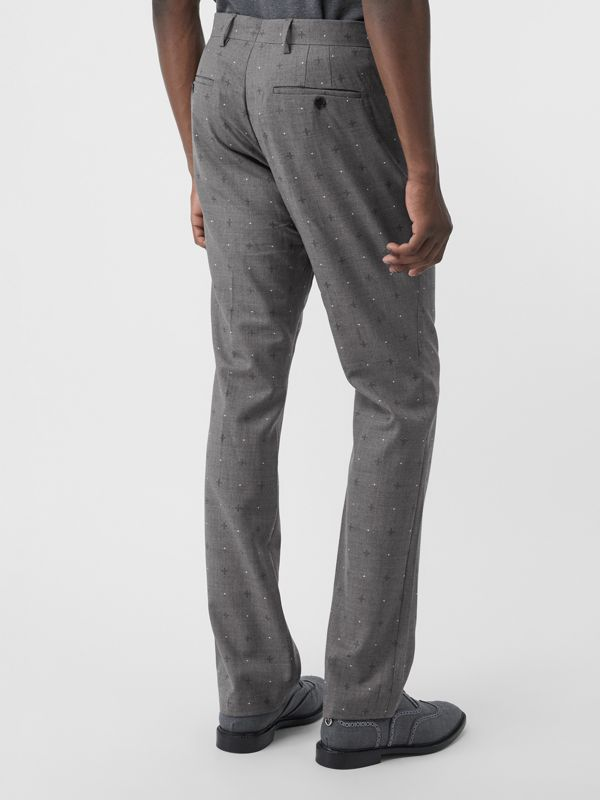 Classic Fit Fil Coupé Wool Cotton Tailored Trousers in Mid Grey Melange - Men | Burberry - cell image 2