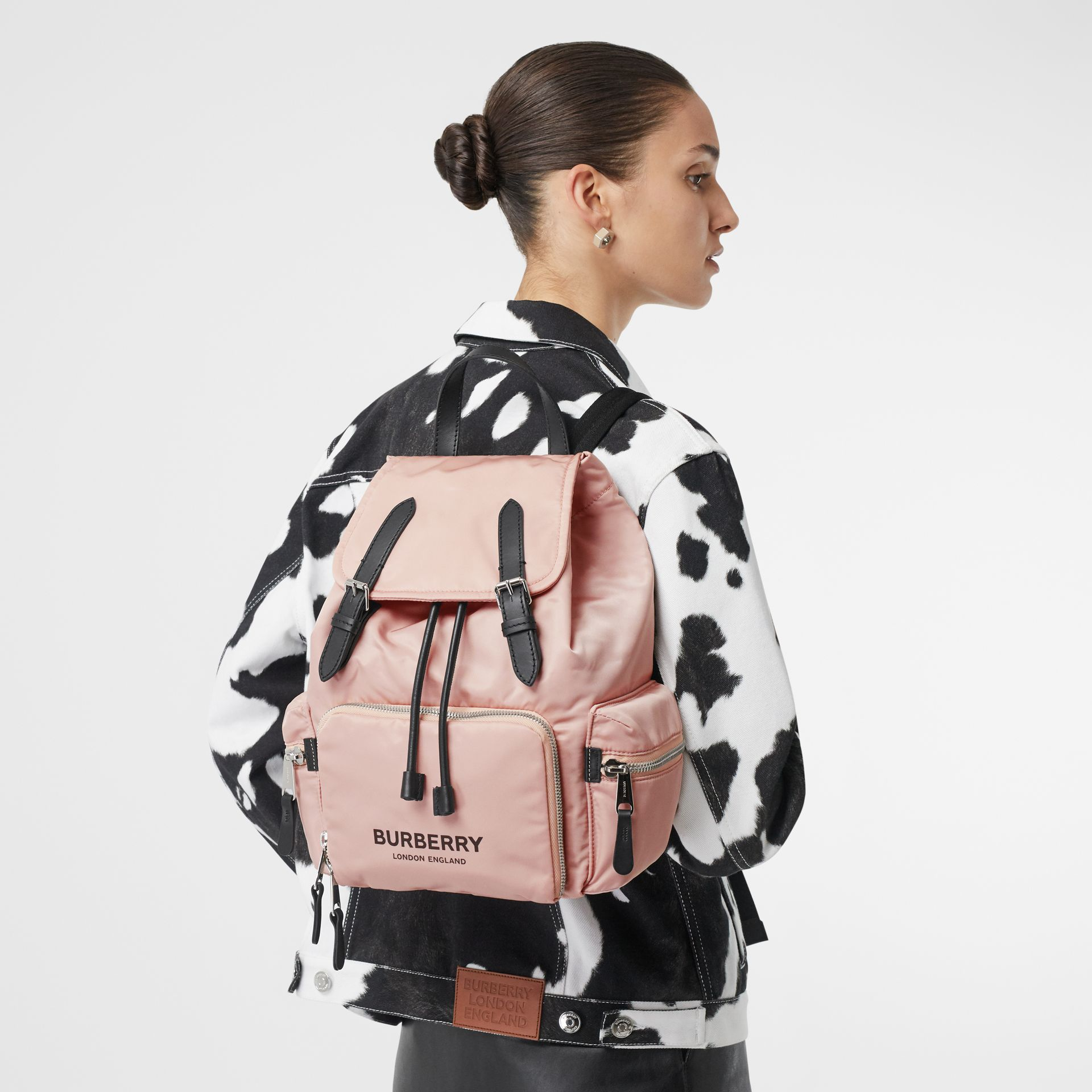 The Medium Rucksack in Logo Print Nylon in Rose Beige - Women | Burberry - gallery image 2