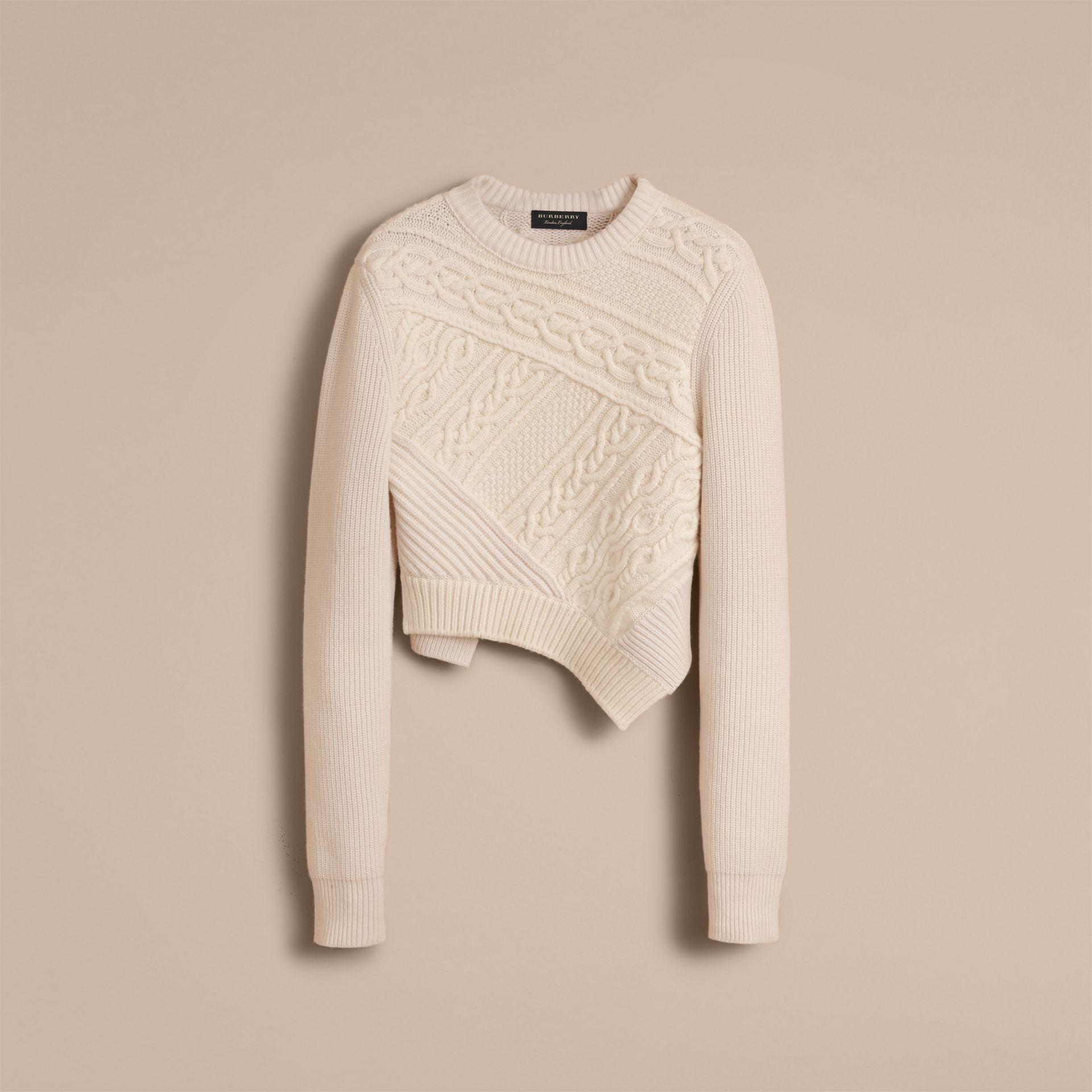 Cable Knit Cashmere Wool Cropped Sweater in Natural White - Men | Burberry United Kingdom - gallery image 7