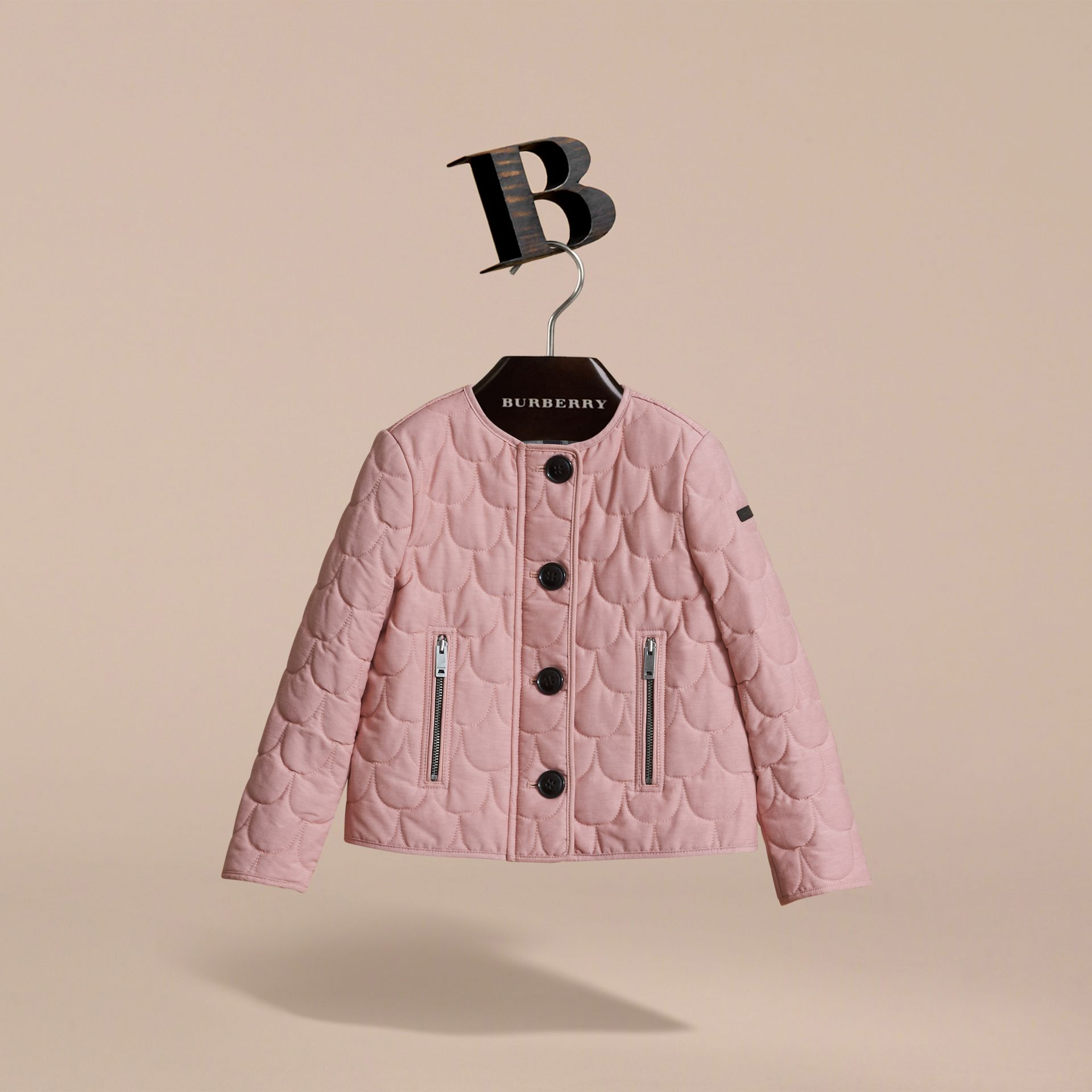 Collarless Scallop-quilted Jacket in Pale Rose | Burberry Australia - gallery image 3
