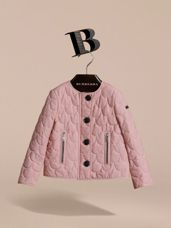 Collarless Scallop-quilted Jacket in Pale Rose | Burberry Australia - cell image 2