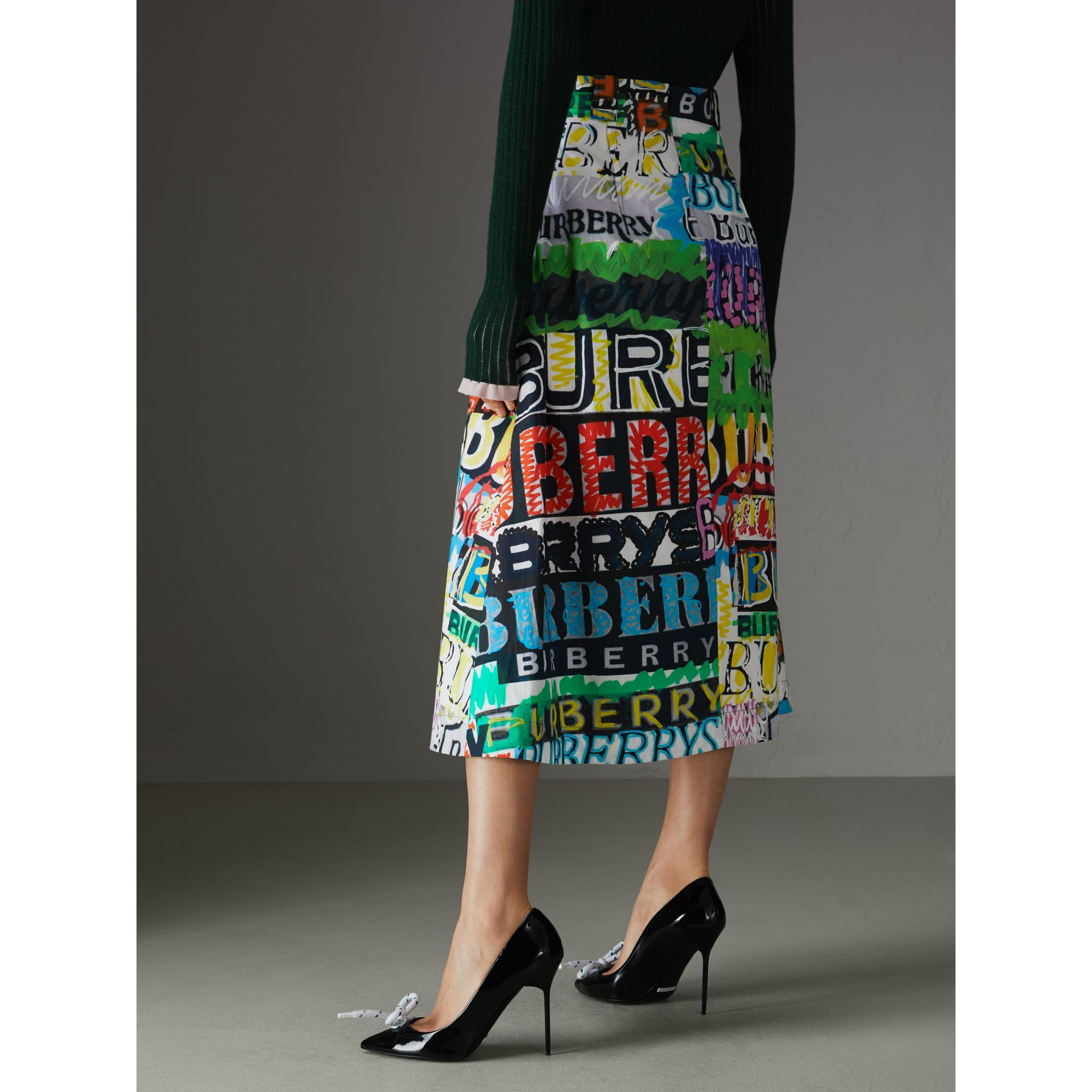 Logo Print Cotton A-line Skirt in Multicolour | Burberry - gallery image 2