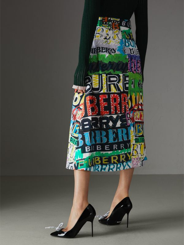 Logo Print Cotton A-line Skirt in Multicolour | Burberry - cell image 2