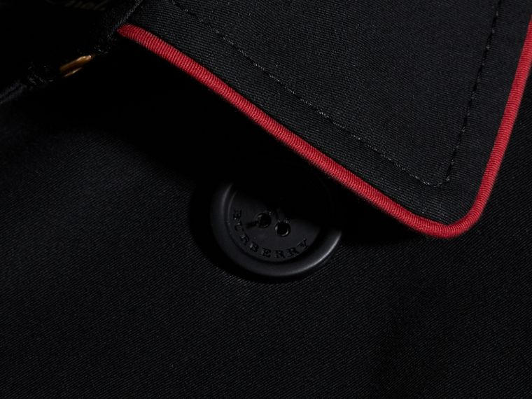 Black Military Detail Cotton Trench Coat - cell image 1
