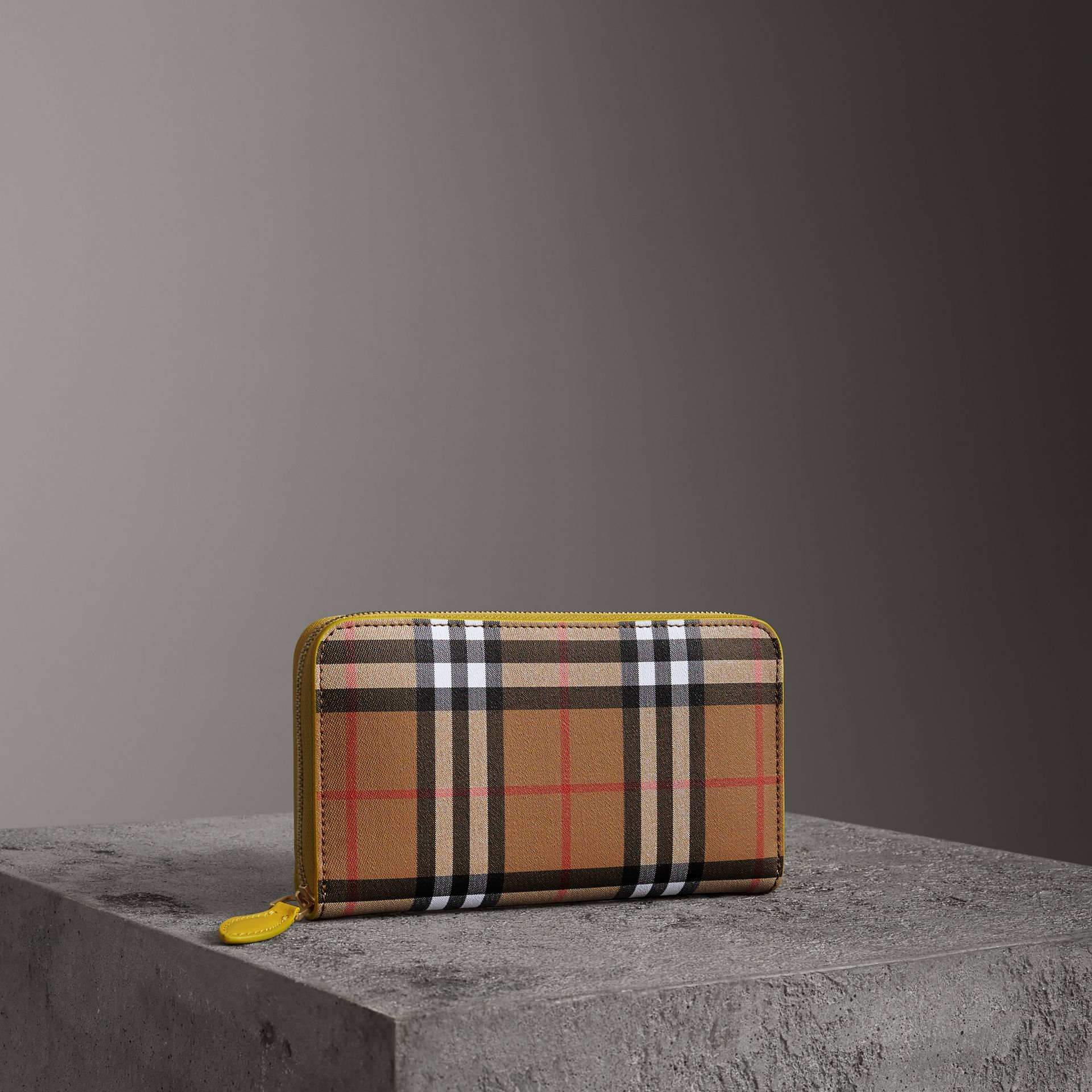 Vintage Check and Leather Ziparound Wallet in Bright Larch Yellow - Women | Burberry Singapore - gallery image 0