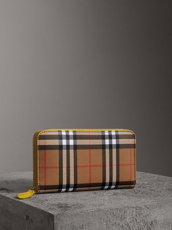 Vintage Check and Leather Ziparound Wallet in Bright Larch Yellow