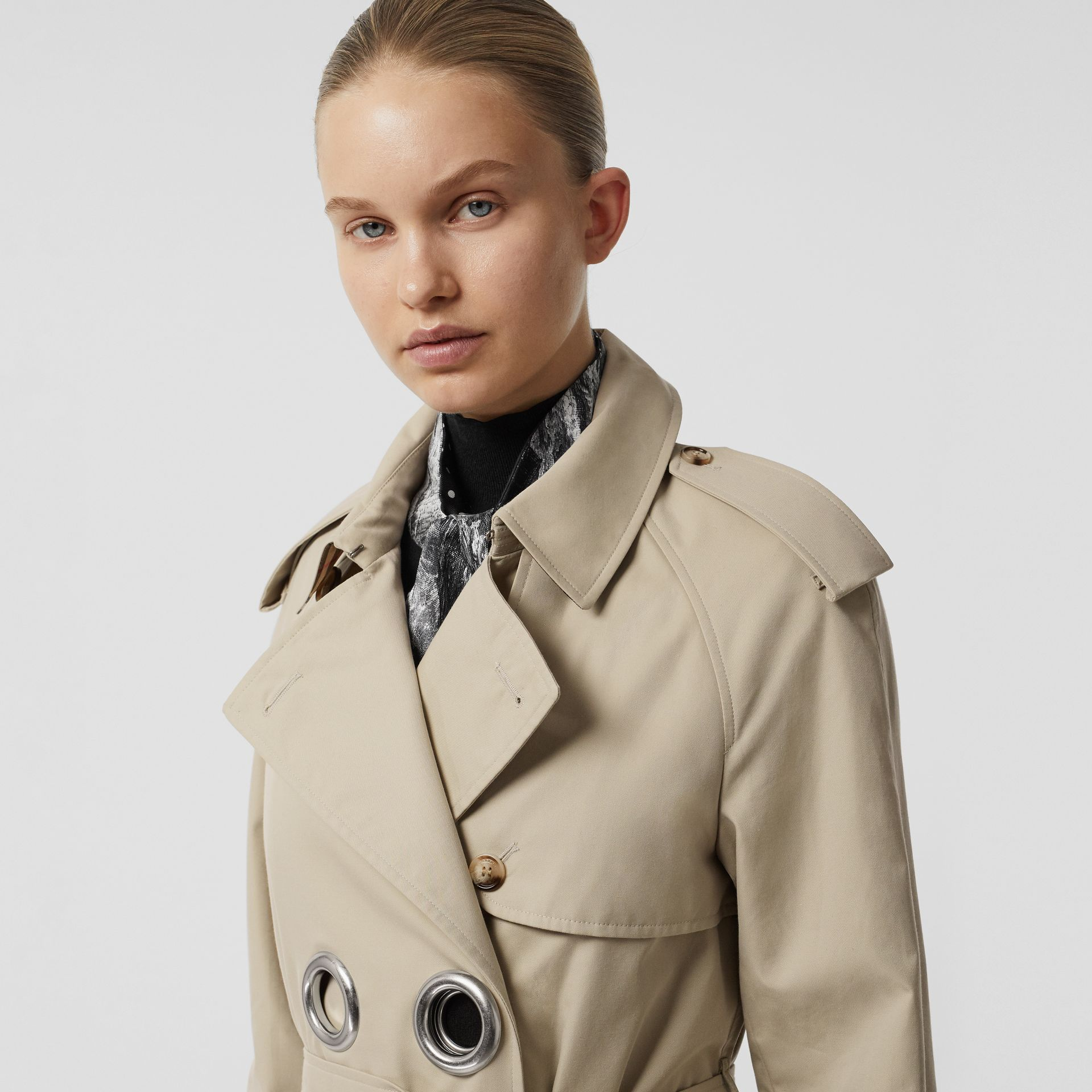 Grommet Detail Cotton Gabardine Trench Coat in Stone - Women | Burberry United Kingdom - gallery image 1
