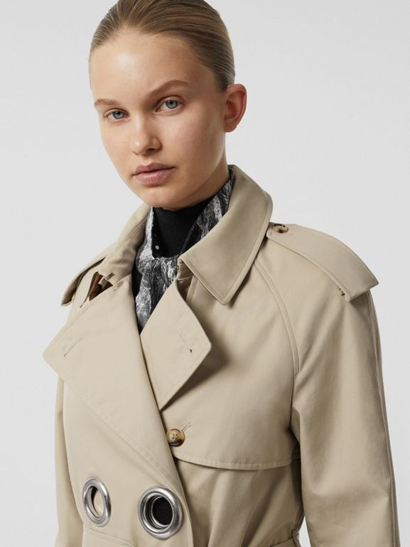 Grommet Detail Cotton Gabardine Trench Coat in Stone - Women | Burberry - cell image 1