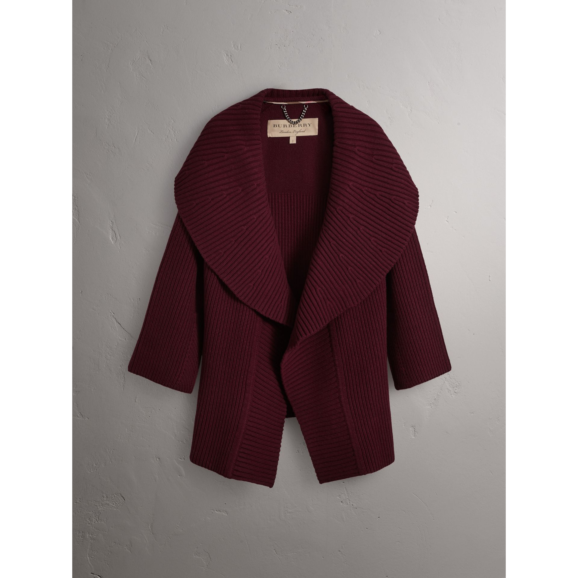 Ribbed Wool Cashmere Cardigan Coat in Burgundy - Women | Burberry United Kingdom - gallery image 4